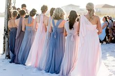 Maureen's bridesmaids wore a mix of shades in our Versa convertible bridesmaid dress to customize for a unique but cohesive bridal party! Shop the Versa convertible bridesmaid dress for under $200 at David's Bridal | Photo by Melissa Wilson Photography