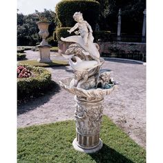Young Poseidon Sculptural Fountain with Dolphin