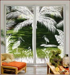 Tropical Etched Glass Scene For Beach, Tropical, Casual, Oriental Decor Frosted Glass Design, Frosted Glass Window, Etched Glass Door, Sliding Glass Door, Glass Doors, Tropical Doors, Tropical Windows, Window Clings, Window Art
