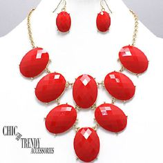 CLEARANCE RED GEM CHUNKY NECKLACE JEWELRY SET CHIC AND TRENDY ACCESSORIES #Unbranded