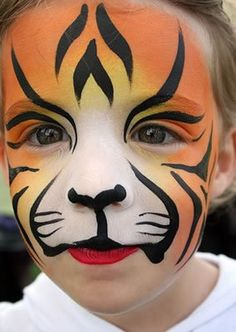 Simple face painting designs are not hard. Many people think that in order to have a great face painting creation, they have to use complex designs, rather then simple face painting designs. Animal Face Paintings, Animal Faces, Boy Face, Child Face, Tiger Face Paints, Tiger Face Paint Easy, Cool Face Paint, How To Face Paint, Black Cat Face Paint