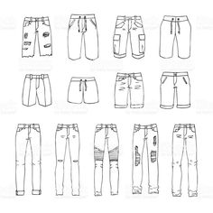 Hand drawn vector clothing set 13 models of trendy mens shorts and Males's clothes royalty-free inventory vector artwork Dress Design Sketches, Fashion Design Sketchbook, Fashion Design Drawings, Art Sketchbook, Fashion Sketches, Cool Art Drawings, Pencil Art Drawings, Art Drawings Sketches, Drawing Clothes