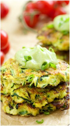 Zucchini Fritters with Avocado Crema - these healthy, crispy #zucchini fritters made healthier with flax seed and almond meal, they're #low-carb and grain free!