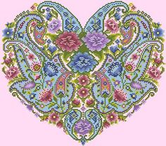 Heart shaped cross-stitch design