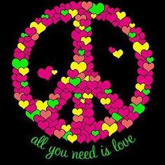 Peace sign made out of hearts art