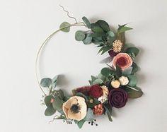 Jewel Tone Fall Modern Felt Flower Wreath | Minimal Autumn Decor