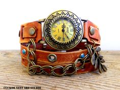 Women's watch, Tan Leather wrap watch with turquoise stones, Vintage looking bracelet watch with leaf charm
