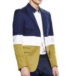 Admired Navy Blue White Tan Colorblock Polyester Mens Blazer  | www.pilaeo.com #mens #luxury #fashion