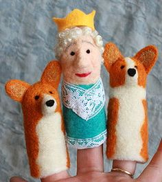 The Queen and her Corgis, finger puppets!