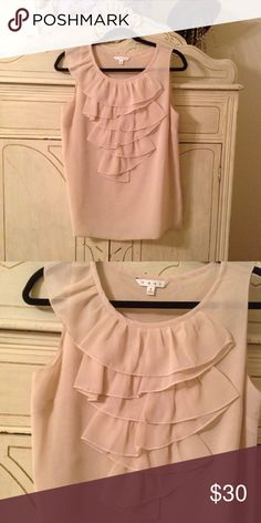 CAbi blush colored ruffled blouse So beautiful and feminine. Worn only once. CAbi Tops Blouses