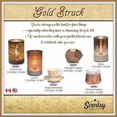 """New for fall and winter 2016, Scentsy """"Gold Struck"""" wax warmer collection #wickless #scentsbykris"""