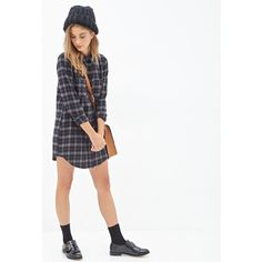 FOREVER 21 Plaid Flannel Shirt Dress ($25) ❤ liked on Polyvore featuring dresses, sleeve dress, plaid shirt dress, forever 21 dresses, plaid flannel dress and shirt dress