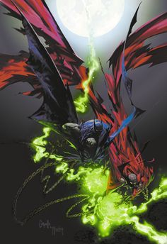Spawn and Batman by Todd McFarlane and Greg Capullo * Comic Book Artists, Comic Book Characters, Comic Artist, Comic Character, Comic Books Art, Spawn Comics, Bd Comics, Image Comics, Comics Vintage