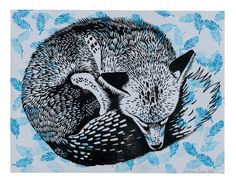 Fox dreaming  original linocut by odreycaron on Etsy, $55.00