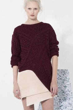Cameo-Every City Knit sweater is a cable knit pullover with an asymmetric hem. 55% Acrylic, 45% Cotton PIPE AND ROW