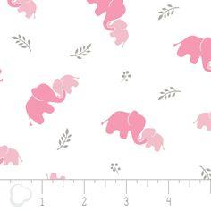 Elephants Pink - Swaddle Bambino Fabric - Cotton