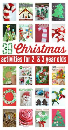 Christmas activities for 2 year olds & 3 year olds . Awesome and easy Christmas crafts for preschool. 39 Christmas activities for 2 year olds and 3 year olds. Santa Crafts, Noel Christmas, Christmas Crafts For Kids, Christmas Projects, Simple Christmas, Winter Christmas, Christmas Themes, Holiday Crafts, Holiday Fun