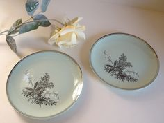 2 LADY EMPIRE bread & butter plates, lily of the valley celadon green gray platinum trim Permacal 1950s.