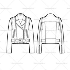 Fashion Flat Vector Template of Women's sketch of a belted studded moto and shoulder epaulets. All sketches are CADed up and the outside strokes are connected.