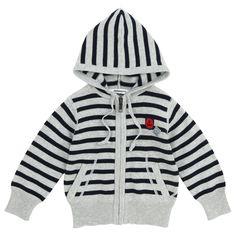 3pommes | Ropa bebé y moda infantil niño y niñaCardigan de color gris con rayas negras horizontales, con capucha para la lluvia.