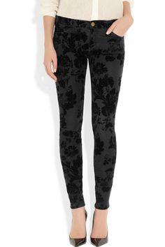 Current/Elliottvelvet-flocked skinny jeans