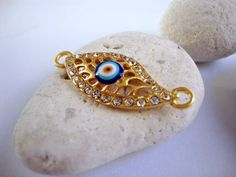 Gold Plated Turkish Evil Eye connector with by ShiShisBoutique 681023b70ad