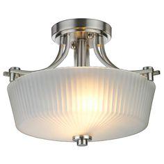 Hampton Bay Sheldon Collection 2-Light Brushed Nickel Semi-Flush Mount Light-EC1129SBA - The Home Depot
