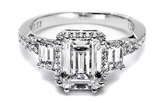 Elegant Emerald Cut Diamond Engagement Ring - Tacori