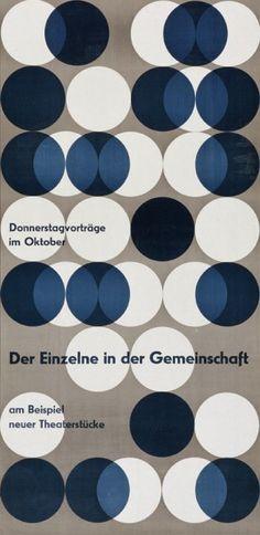 Typographic poster design by Otl Aicher Graphisches Design, Swiss Design, Circle Design, Layout Design, Pattern Design, Dots Design, Pattern Print, Design Ideas, Interior Design