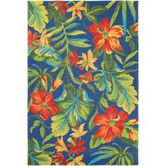 Couristan Covington Tropical Orchid Azure/ Forest Green/ Red Area Rug (5'6 x 8')