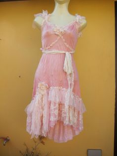 RESERVED .vintage inspired crushed pink slip dress with ruffles of ivory lace,shabby detail and roses..... $70.00, via Etsy.