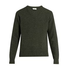 Lemaire V-neck wool sweater (9.020 CZK) ❤ liked on Polyvore featuring men's fashion, men's clothing, men's sweaters, green, mens slim fit sweater, mens vneck sweater, men's v neck sweater, mens green sweater and mens merino wool v neck sweater