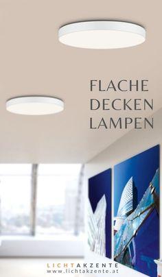 """Diese flache Deckenlampe """"Drone"""" mit schlichten Design findest du Lichtakzente.at. Die runde Deckenleuchte in Weiß trägt zur modernen Beleuchtung im Esszimmer, Wohnzimmer, Schlafzimmer, Küche Flur, Kinderzimmer oder in einem Hotelzimmer bei. // Deckenleuchte Wohnzimmer #wohnen #beleuchtung #licht #interiordesign #lampen und leuchten #lichtakzente Ceiling Lights, Interiordesign, Lighting, Rooms, Live, Home Decor, Ceiling Light Living Room, Bedroom Lamps, Lights"""
