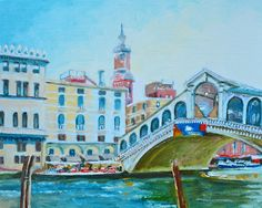 The Rialto Bridge over the Grand Canal in Venice, Italy. Oil painting by award-winning Australian artist Dai Wynn on canvas panel. 20.3 cm high by 25.4 cm wide (8 inches by 10 inches) approximately. Check www.daiwynn.com for purchase availability.