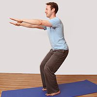 Utkatasana - it looks easy but it ain't - Chair pose also good for strengthening the legs including ankles and knees.