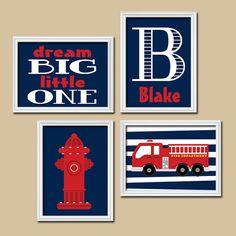 ★FIRETRUCK Wall Art Boy Artwork Child Name Hydrant Fire Truck Theme Dream Big Little One Pattern Set of 4 Prints Baby Boy Bedroom Nursery    ★Includes