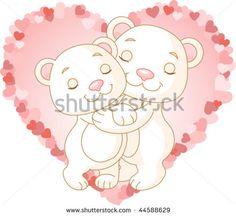 Two very cute polar bears in love