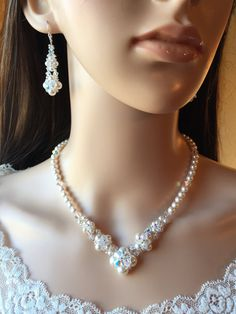WHITE Swarovski Pearl And Crystal NECKLACE & by JewelsbyMarguerite