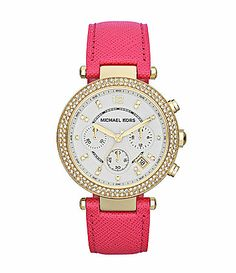Michael Kors Parker Pink Leather Chronograph Watch #Dillards