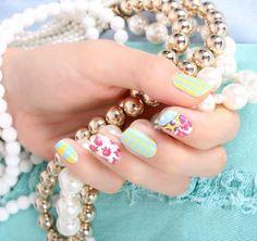 Flower patch nail sticker, pattern nailpatch, 16 patchs, color nailpatch