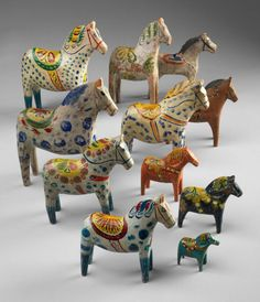 A herd of Dala horses, county of Dalarna. 1890-1960. Wood. © (photo by Bruce White,  Bard Graduate Center Gallery)