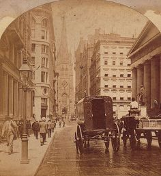 A sepia shaded view of Wall Street, with pedestrians and horse-drawn vehicles. The statue of American president, George Washington (on right). Also Trinity Church with steeple, is visible in background. America's Gilded Age in NYC, c.1890's. ~ {cwlyons} ~ (Image: flickr)