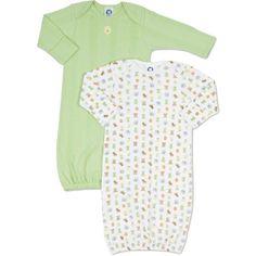 Gerber 2-pack Cotton Baby Gowns Newborn Size 0-6 Months