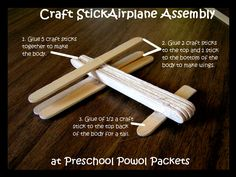 Craft Stick Airplane at Preschool Powol Packets