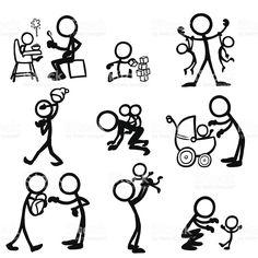 Figura fatta con bastoncini persone bambini illustrazione royalty-free