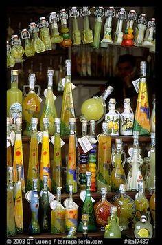 Bottles of Lemoncelo, the local lemon-based liquor, Amalfi. Amalfi Coast, Campania, Love the Limoncello Amalfi Coast Italy, Sorrento Italy, Positano, Limoncello, Naples, Capri, Southern Italy, Italian Style, Sicily