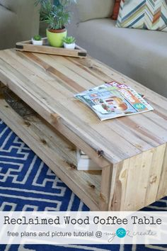Build your own beautiful Reclaimed wood coffee table with free plans and picture tutorial from MyLove2Create!