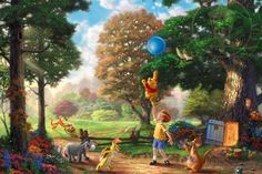 Thomas Kinkade Studios (Winnie the Pooh II) StarFire Prints Hanging Glass Thomas Kinkade Disney, Cute Winnie The Pooh, Winnie The Pooh Friends, Disney Up, Disney Love, Disney Babies, Disney Magic Kingdom, Disney Wallpaper, Beautiful Paintings
