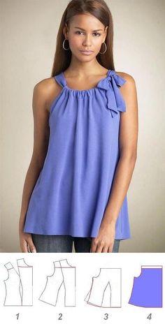 Blusa estilo pillowcase, con patrones.: