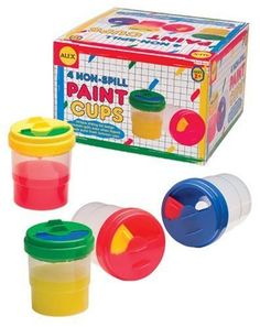 Alex NON-SPILL PAINT CUPS (4) by Alex. $10.05. Suitable For Ages and above. Recommended For Ages between 36 months 6 years. Set of non-spill paint cups with multi-colored lids. Comes in red, green, yellow and blue. For Ages 3+. From the Manufacturer                Keep the messiness of painting minimal with non-spill paint cups! Special lips on the cups prevent paint from spilling if they are tipped over. Lids slide open and closed, so paint can be kept fresh. Sturdy plastic ...